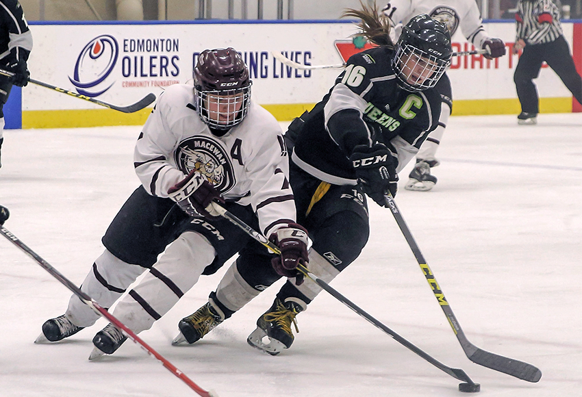 MacEwan's Shanya Shwetz battles Red Deer College's Julia Murrell during their first-round playoff match last season. The Griffins needed 14 periods of play to finally eliminate the Queens in three games (Nick Kuiper photo).