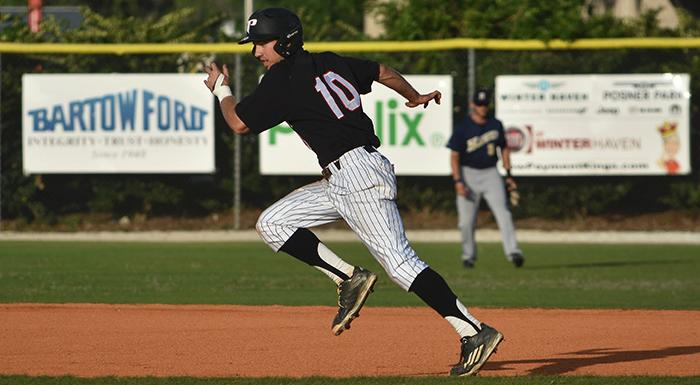 Cody Burgess stole his 42nd base of the year, breaking Luke Parker's single-season record of 41. (Photo by Tom Hagerty, Polk State.)