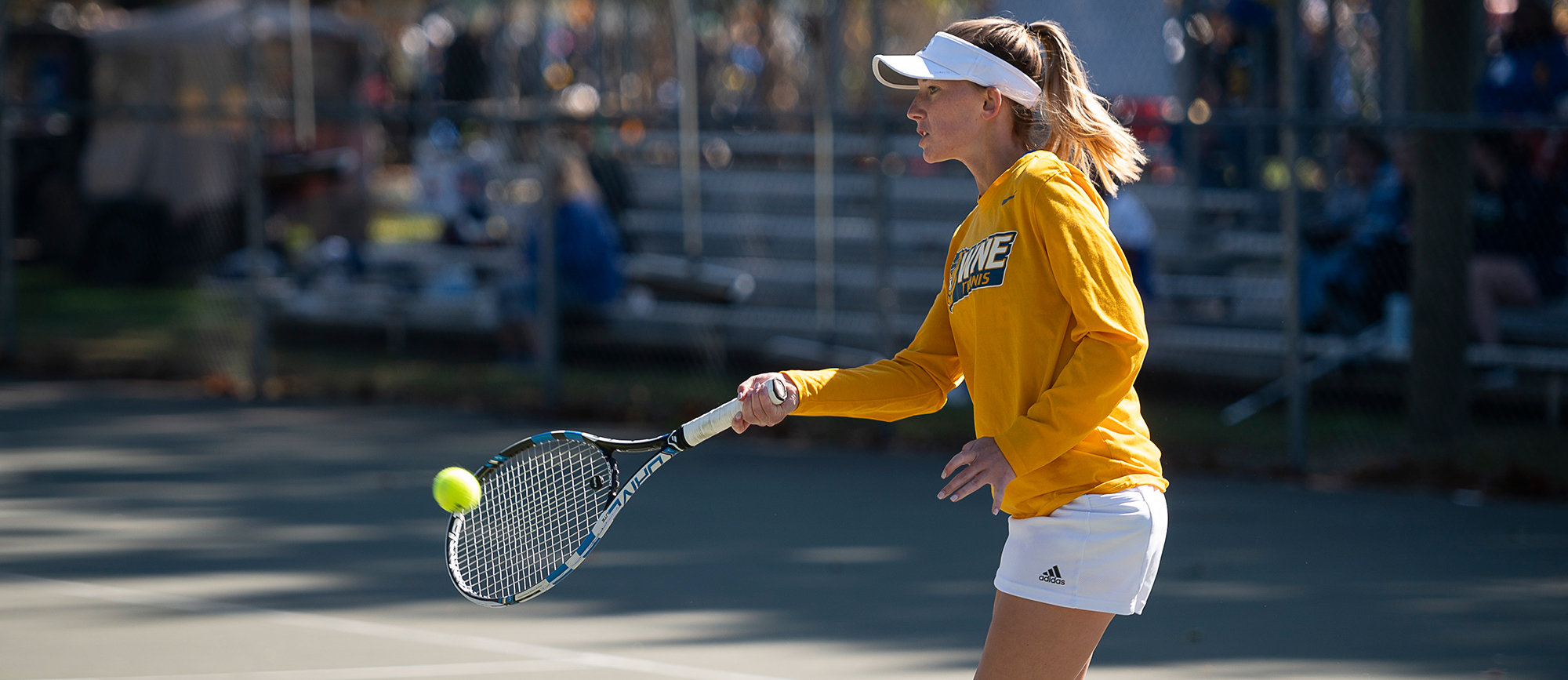 Morgan Schrader picked up wins at No. 1 doubles and No. 2 singles, but the Golden Bears fell to Gordon 5-2 in the CCC Tournament on Wednesday. (Photo by Ben Barnhart)