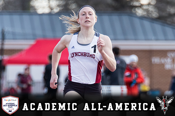Natalie Deacon sprints the final leg of a race on the track. Text: CoSIDA Academic All-America.