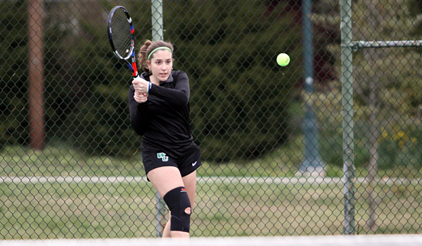 Copyright 2017; Wilmington University. All rights reserved. File photo of Begona Gomar who won at No. 2 doubles and No. 2 singles on Saturday.