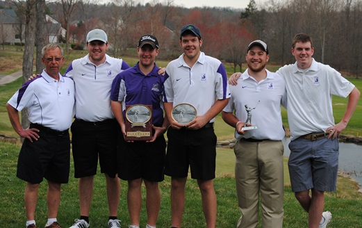 The Royals finished runner-up today at the Glenmaura National Collegiate Invitational at Glenmaura National Golf Club in Moosic.  From left:  head coach Ed Karpovich, Eric Montrella, Grant Gulick, Charles Hudacek, Erik Meyer, and Ryan Brown