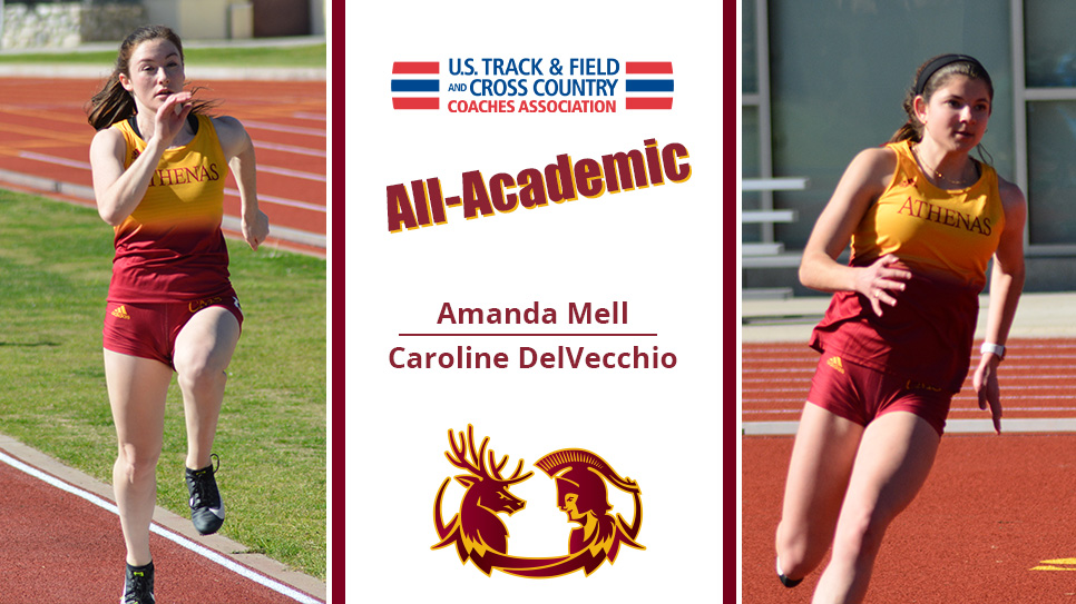 Amanda Mell (left) and Caroline DelVecchio (right) with a USTFCCCA logo in the middle along with the words All-Academic