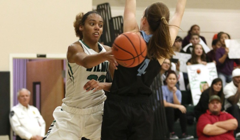 Copyright 2017; Wilmington University. All rights reserved. Photo of Jadyn Whitsitt who led the team with 20 points against Holy Family, taken by Frank Stallworth.