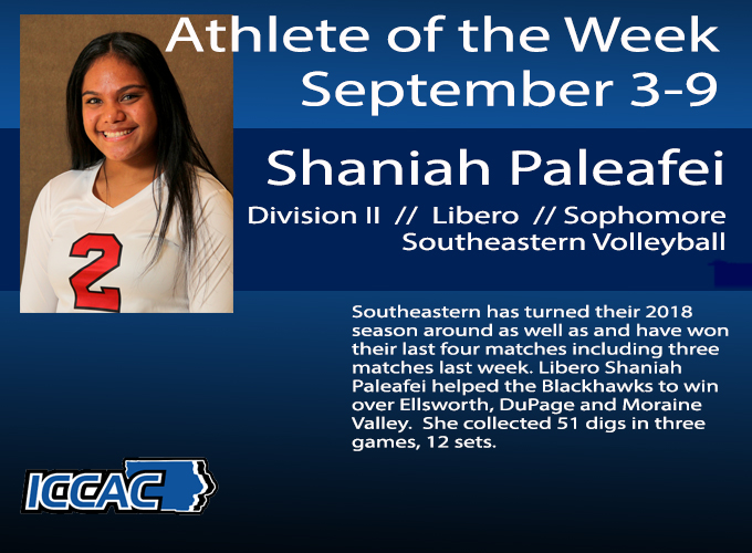 Paleafei Earns ICCAC Athlete of the Week
