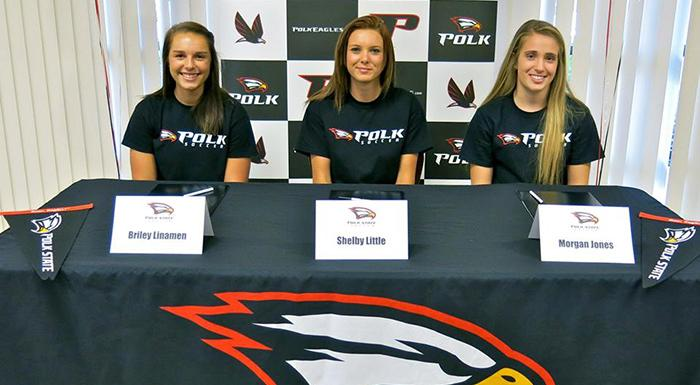 Briley Linamen, Shelby Little, and Morgan Jones are among the 13 student-athletes joining the Polk State soccer team for the 2015 season.
