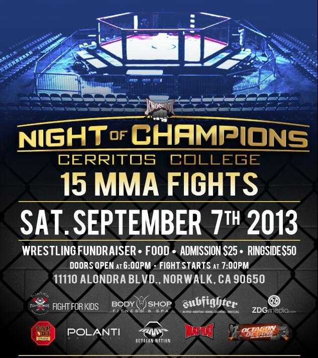 Cerritos College will host 15 MMA fights on Saturday, September 7