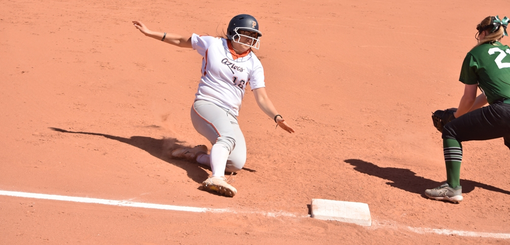 Sophomore Edith Prieto (Sunnyside HS) had six RBIs, a run scored and two triples on the day as the Aztecs softball team swept GateWay Community College on Saturday at the West Campus. The Aztecs are 31-13 overall and 22-12 in ACCAC conference play. Photo by Ben Carbajal