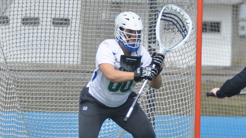 Christina Myers made eight saves in the Seahawks 22-8 victory over New England College (Photo by Andrew Pezzelli)