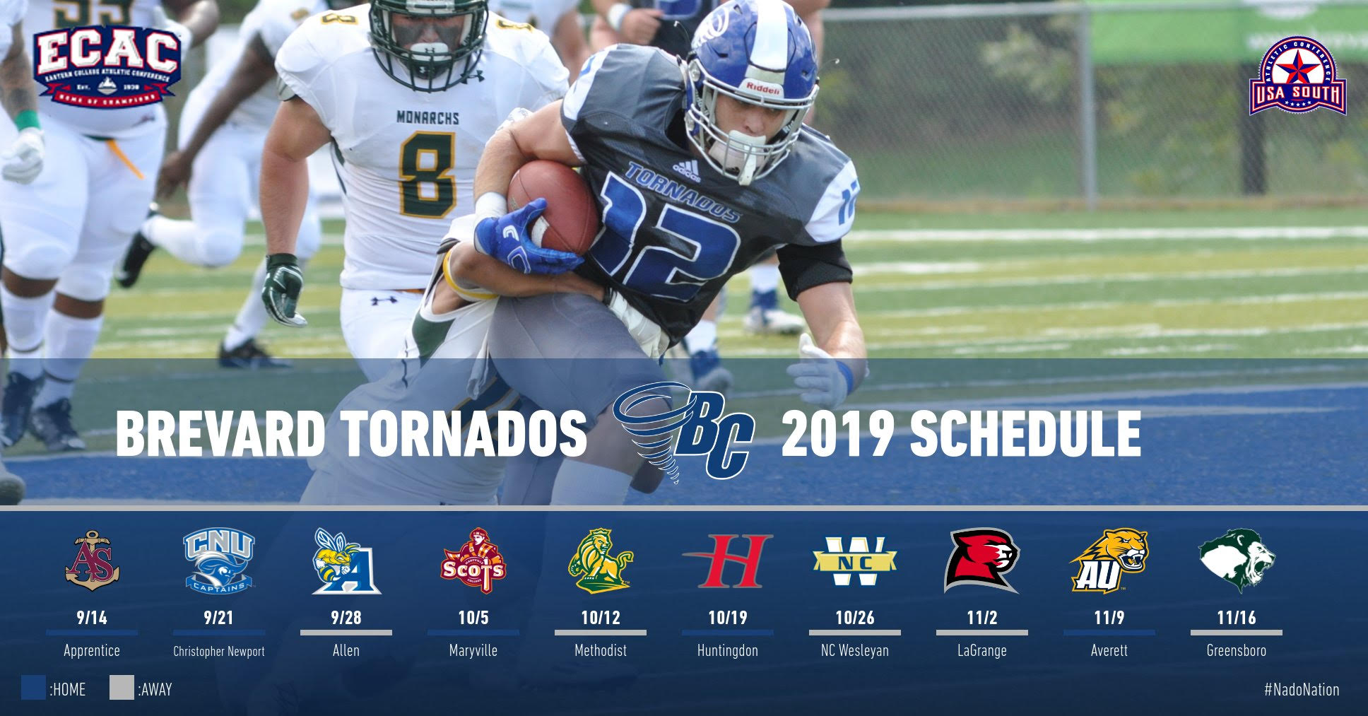 2019 Brevard College Football Schedule Announced