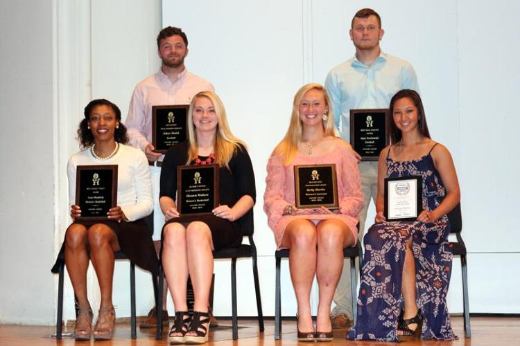 2016 Special Awards Winners (clockwise from back): Adam Smith (Jack Jensen Ideal Student-Athlete), Matt Pawlowski (Best Male Athlete), Laura Hall (Haier Achievement Award Honorable Mention), Kelly Martin (Joyce Sportsmanship Award), Heaven Walters (Joyce Most Improved Award), Anais Weatherly (Best Female Athlete). Emily Zegel '18 photo.