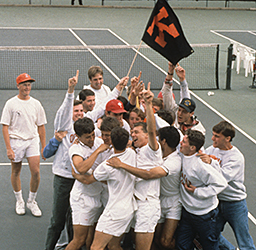 1993 Kalamazoo College Men's Tennis Team celebrating