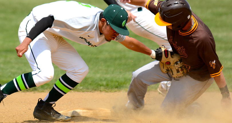 Freshman Nick Silvis tags out a runner attempting to steal second. (Wilmington photo/Randy Sarvis)