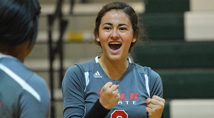 Alejandra Robles led the Eagles in assists with 33 against the Manatees. (Photo by Tom Hagerty, Polk State.)