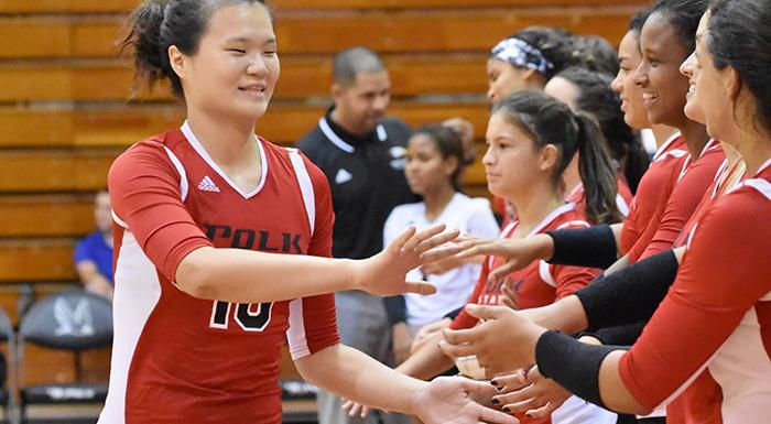 Yue Wue (left) and the Eagles defeated No. 8 Blinn College in Brenham, Texas. (Photo by Tom Hagerty, Polk State.)