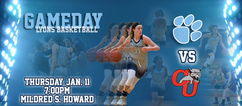 Gameday Central graphic for the basketball contest against Clark University on Thursday night.