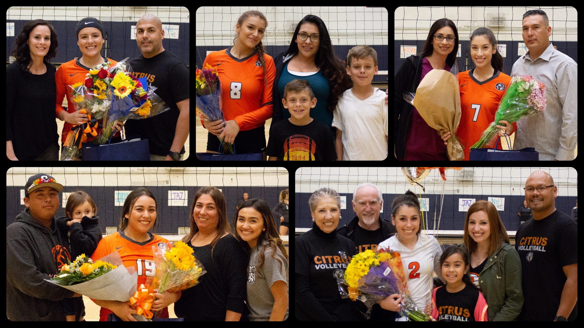 Citrus Volleyball's 2018 Sophomore class. Clockwise from upper left: Alexsis Rodriguez, Jazmine Carlos, Iris Bernal, Natalia Castro, Julianna Aceituno. Images: Brian Cone