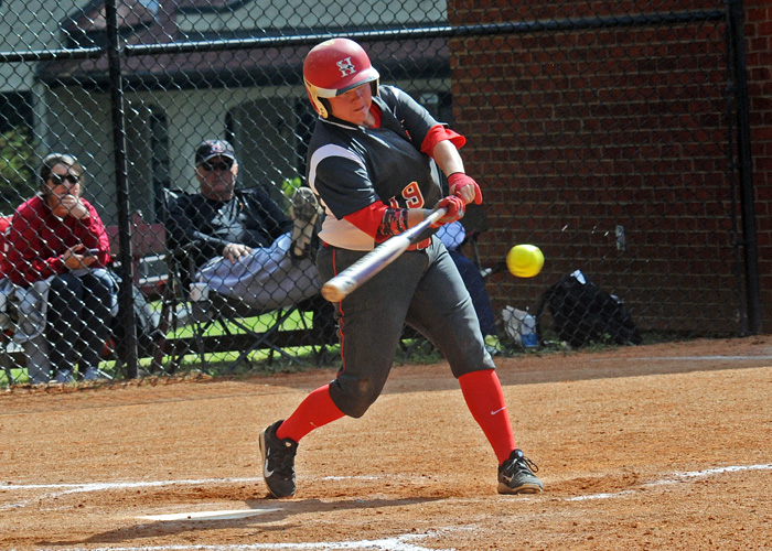 Heather McGuirk drove in the winning run in the bottom of the seventh inning to help Huntingdon knock off previously unbeaten and 21st-ranked Averett University in the second game of a conference doubleheader on Sunday. (Photo by Wesley Lyle)