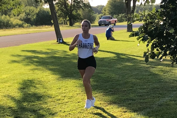 Miranda Oldenburger keeps focused and sets her pace as she runs her first 4K ever at the 26th annual Mustang Gallop.