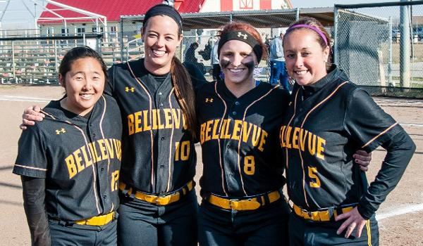 Bellevue's four seniors (left to right): Alyssa Matoba, Katie Malloy, Augusta Ratliff and Kristin Burhenne were honored between games.