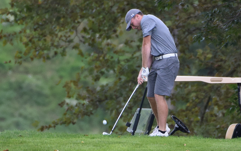 Senior Kody Long tees off on the fifth hole on the Weyhill Course at Saucon Valley Country Club during the Moravian Weyhill Invitational in September 2018.