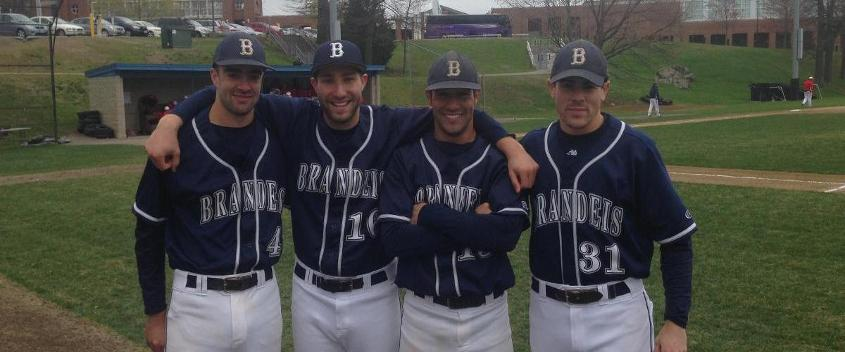 The Brandeis seniors before today's game