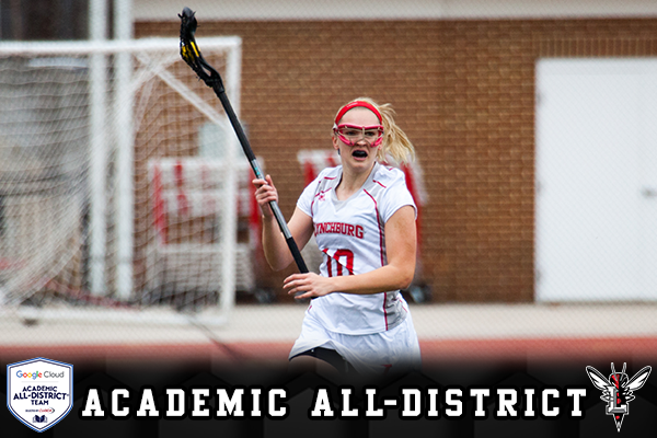 Dorrie MacGergor cradles the lacrosse ball looking to pass. Text: Academic All-District. Logos: CoSIDA, Lynchburg Hornet