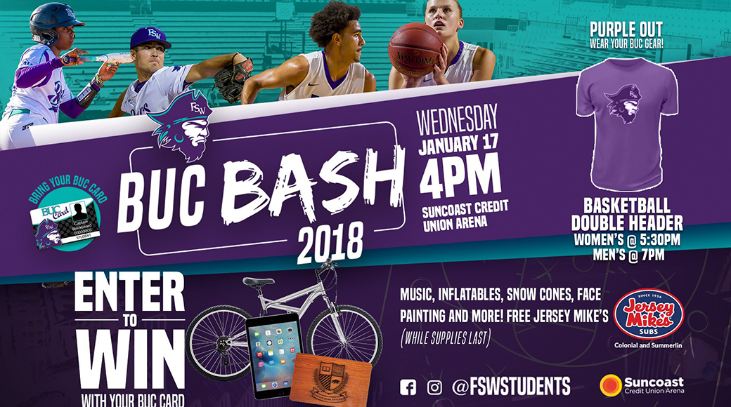 FSW Announces 'PURPLE OUT' and 'BUC BASH' Tailgate Party For Jan. 17 Hoops Doubleheader