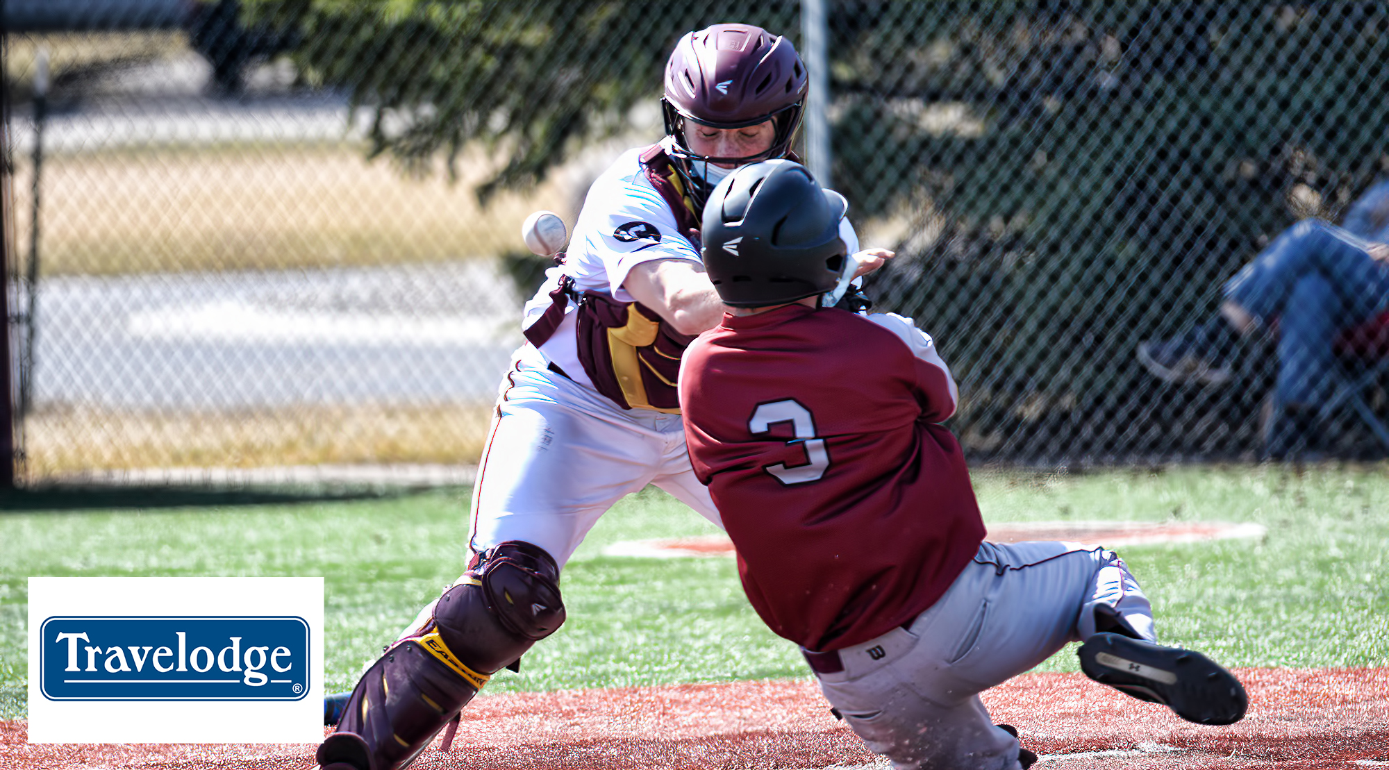 Cobber catcher Toby Sayles collides with a Hamline runner on a play at the plate during the first game of the doubleheader on Saturday.