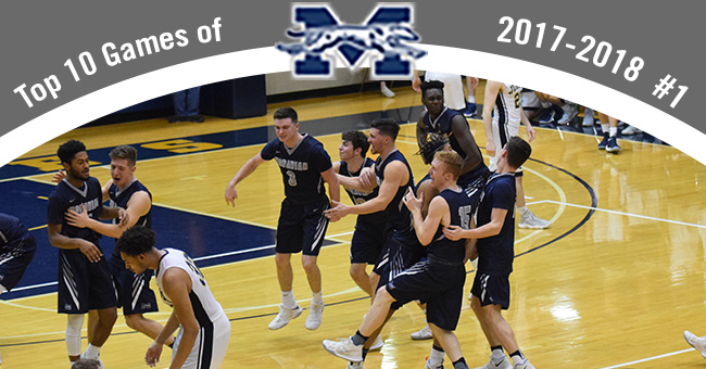 The top contest in the Top 10 Exciting Games of 2017-18 belongs to the men's basketball team's 81-78 come-from-behind win at Juniata to win Landmark Conference title.