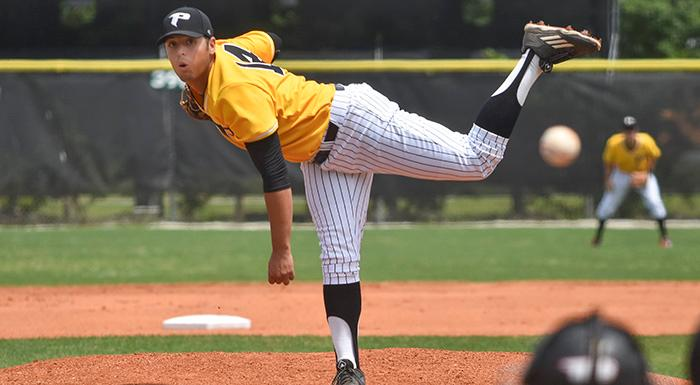 Jonathan Bermudez delivers a pitch against Florida SouthWestern in a 9-3 victory. (Photo by Tom Hagerty, Polk State.)