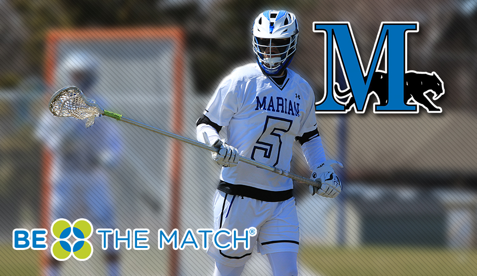 Marian men's lacrosse Be The Match graphic.