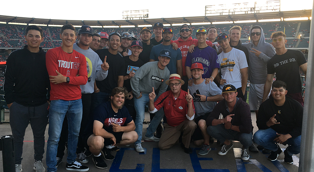 The Taft College baseball team with Coach Mike at Angels Stadium in Anaheim.