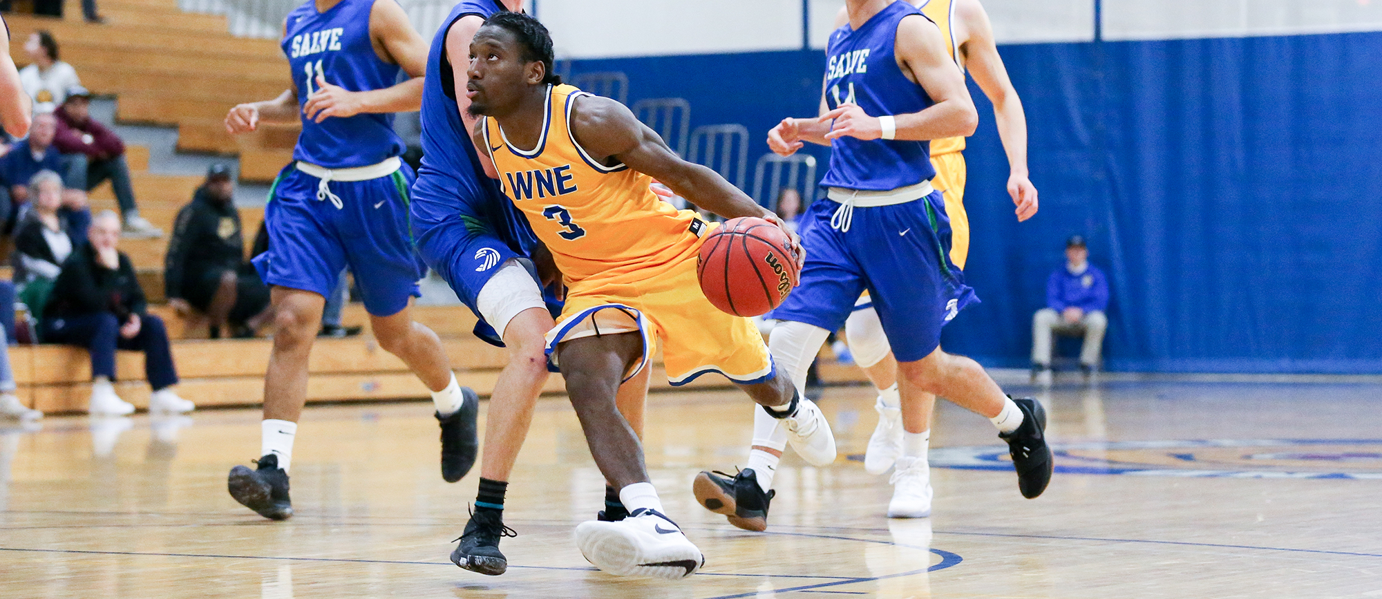 Junior Mikey Pettway scored a game-high 24 points on Tuesday night as Western New England picked up its first CCC win at Eastern Nazarene (photo by Chris Marion).