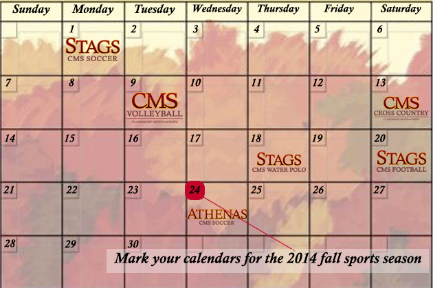 Mark your calendars for the Fall 2014 CMS sports seasons