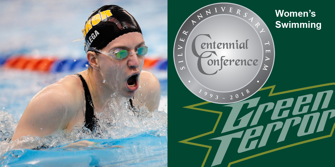 Rachel Walega makes the Centennial Conference Silver Anniversary Team for women's swimming.