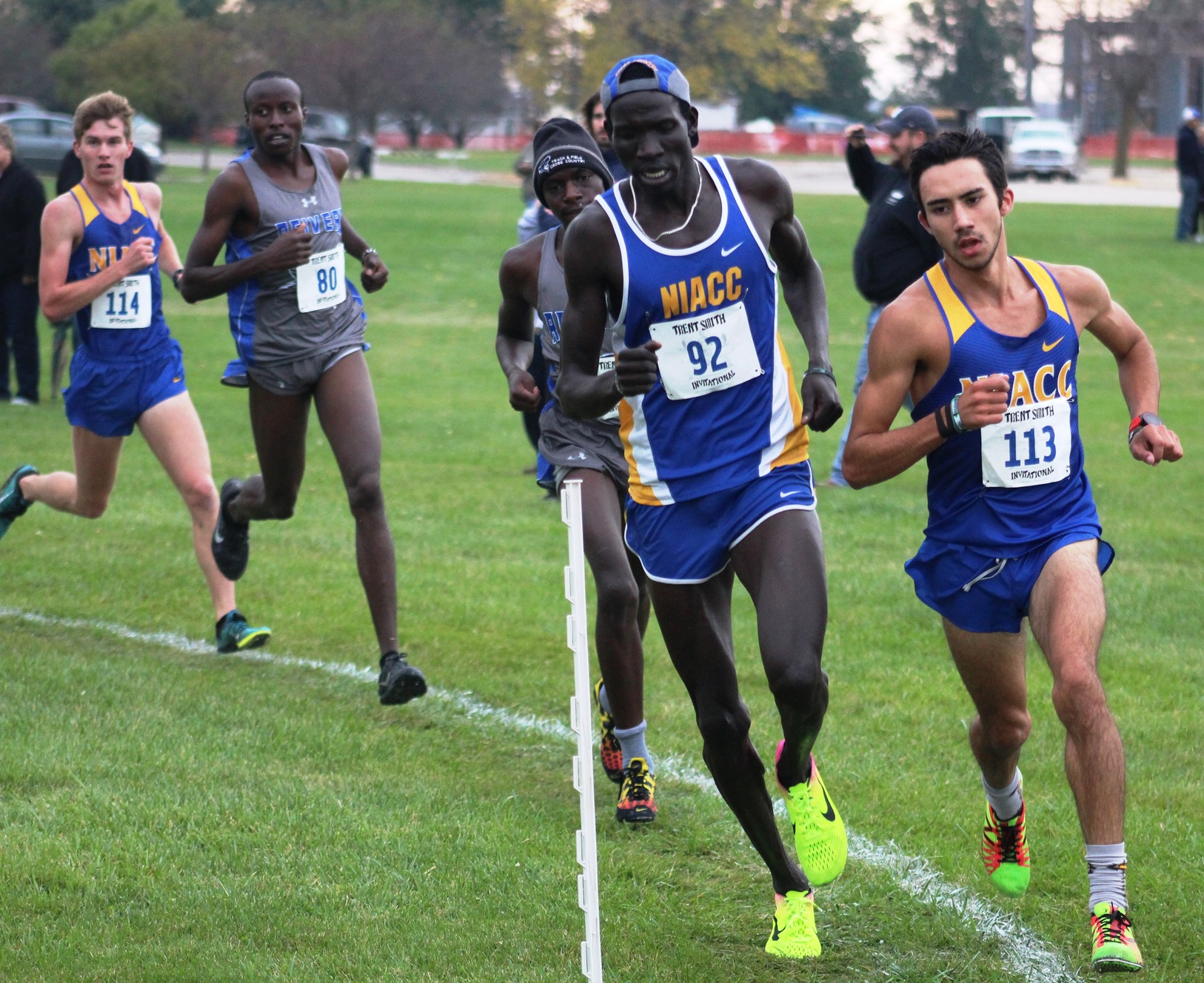 NIACC's Brian Jacques (right) and Wal Khat, who was running for the NIACC alumni team) share the lead at the Trent Smith Invite on Friday.