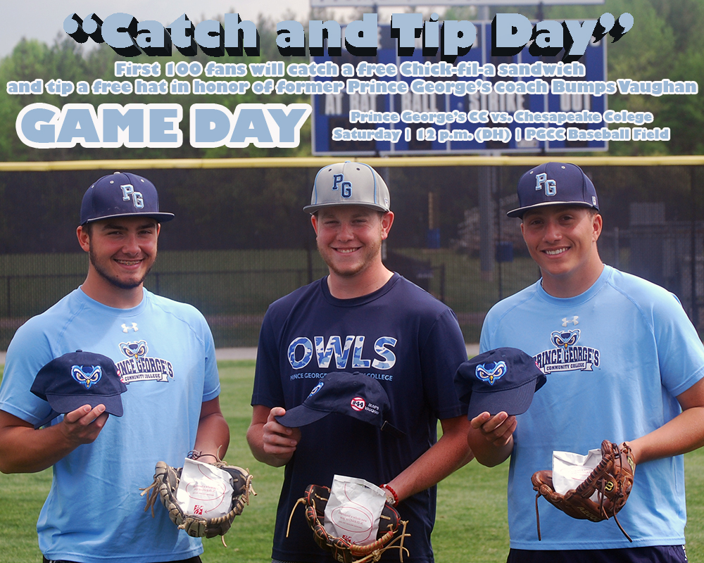 Catch And Tip Day At Prince George's Baseball Doubleheader On Saturday Against Chesapeake; Owls Travel To Allegany On Sunday