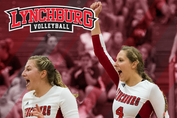 Lynchburg volleyball players celebrate a point. Logo: Lynchburg volleyball.