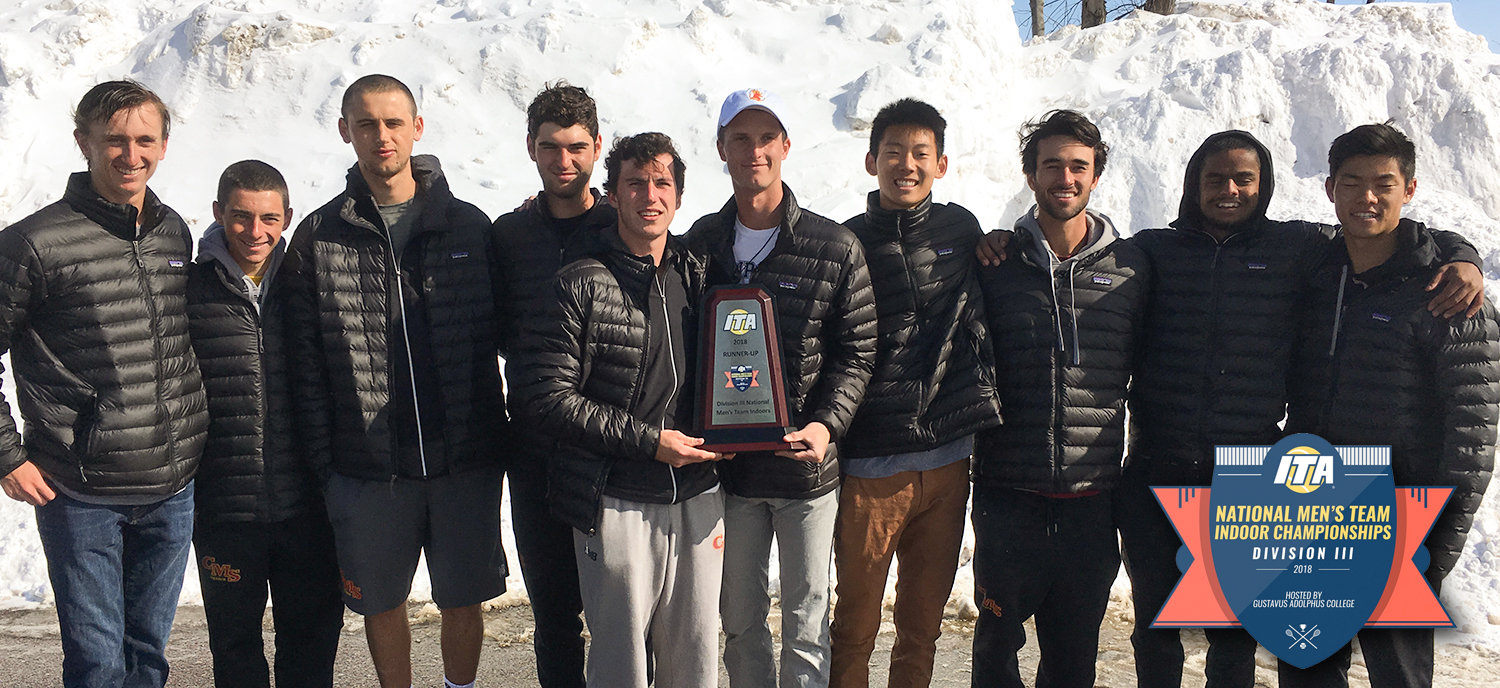 The men's tennis team with their ITA Indoor Runner-Up Trophy. (photo credit: Paul Settles)