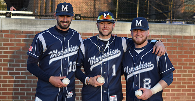 Mike Mittl '19, Austin Markowski '19 and Evan Kulig '19 with their milestone baseballs after each reached 100 career hits versus Albright College at Gillespie Field.