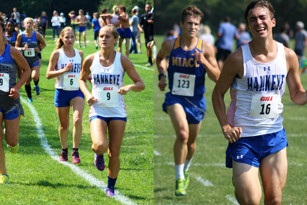 Mikki Mundus (9), Shea Dahlstrom (6), and Isaac Connolly (16) come to the finish line in their respective races.