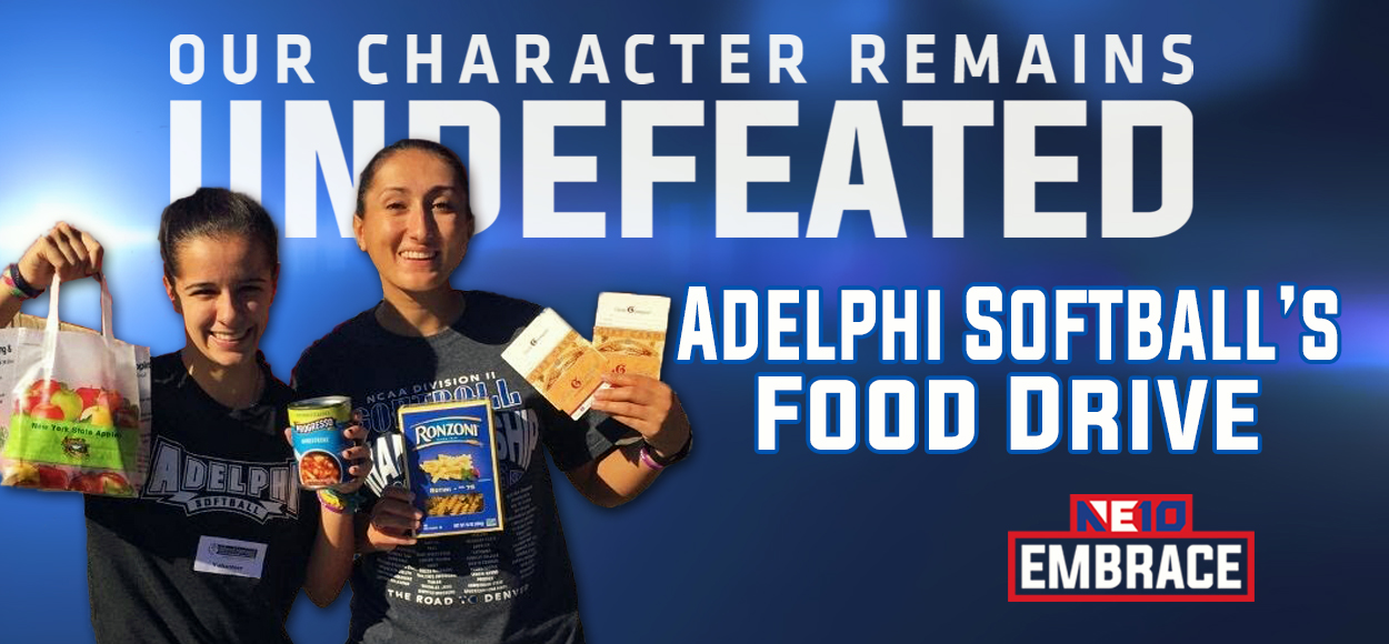 Embrace the Impact: Adelphi Softball Collects Nearly 900 Pounds of Food