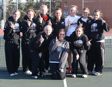 Women's Tennis clinches the OAC Regular Season title with 9-0 sweep at Muskingum; Gales joins 100-Win Club