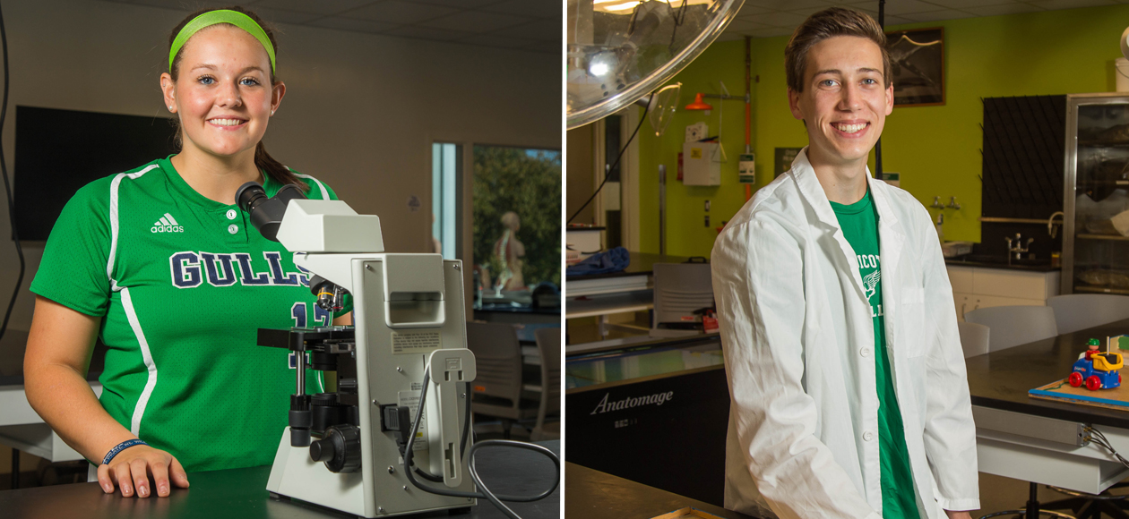 This side-by-side photo of Endicott softball student athlete Emily Sharpe on the left and Endicott men's cross country runner Eric Owens on the right was taken by Endicott student Parker Fish. The photos show both Emily and Eric in a laboratory classroom. Emily is looking through a microscope, while Eric is smiling and wearing his white lab coat.