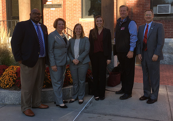Pictured from left to right: Kevin Anderson, Assistant Athletic Director at Dean College, Dr. Paula Rooney, Dean College President, Jean Orr, Assistant Director of Academic and Membership Affairs, Kayla Robles, NCAA Academic and Membership Affairs intern Todd Vasey, Director of Athletics, Dean College and Dr. Rob Larson, Vice President for Communications and Marketing at Luther College