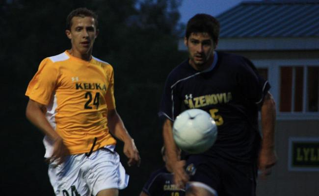 Freshman Cory L'Hommidieu (left) scored the first goal of his Keuka College career to spark men's soccer to a 1-0 win over Cazenovia College Wednesday night (photo courtesy of Megan Chase, Keuka College Sports Information Department).