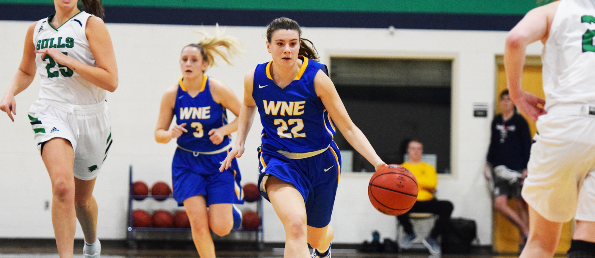 Emily Farrell matched her career-high with 21 points while also adding 7 assists, 6 rebounds and 2 steals in a 67-57 win over Eastern Connecticut on Thursday. (Photo by Rachael Margossian)