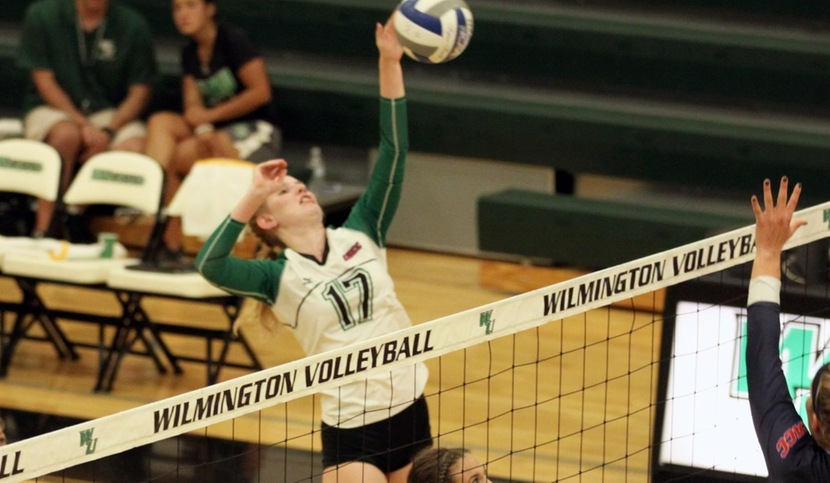 Copyright 2018; Wilmington University. All rights reserved. File Photo of Jill Braunsberg who had 18 assists, and 17 digs, and 7 kills. Photo by Dan Lauletta. September 11, 2018 vs. Jefferson.