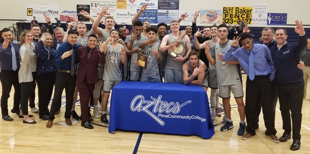 The No. 1 seeded Aztecs claimed their third straight NJCAA Region I, Division II title after they defeated No. 2 Scottsdale Community College 107-73. The Aztecs will head to the NJCAA Division II Tournament in Danville, IL on Mar. 19-23. Photo by Raymond Suarez